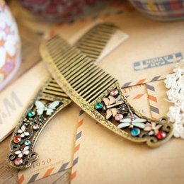 Wholesale Dragonfly Comb - Blowout new retro palace hair comb butterfly dragonfly comb hair salon craft comb