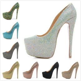 Wholesale Wedding Dresses Thin Straps - Fashion new Womens Sexy Pointed Toe Rhinestones 16cm Platform High Heels,Ladies Crystal wedding shoes with Thin Heels 35-42 Free shipping