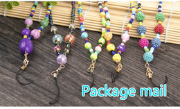 Wholesale Lanyard Bead Glass - The new 2017 package mail manufacturers selling iPhone glass phone strap General exquisite manual iPhone8 phone rope hanging bead drill ball