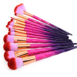 Wholesale Eye Color Professional Kit - Aicebeu Makeup Brush Set 7pcs 10pcs 12pcs Rainbow Face Eye Professional Make Up Brush Kit Cosmetic Tools Macarons Rose Red Color
