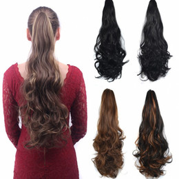 """Wholesale Hair Extensions Claw Clips - Sara Ladies Beauty Hair Claw Jaw Curly Ponytails Clip in Ponytail Hair Extension Curly Horsetail Pony Tail Synthetic Hairpiece 55CM,22"""""""