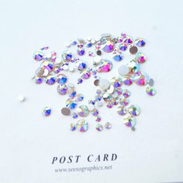 Wholesale nail glitter bag - Wholesale- Sale! Super 10garm Bag Mix Sizes Clear Crystal AB Round Nail Art stickers Rhinestones Glitter Decoration accessories design nail