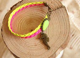 Wholesale Fl Design - Trendy Summer Style Beach Anklets for Women Sea Horse Anklet Bracelet Designs Neon Color Foot Jewelry Anklets 2015 Brand FL-34