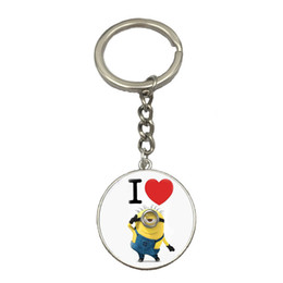 Wholesale Minion Birthday - 2017 Hot Selling Cute Cartoon Anime Minion Keychain Fashion Glass Key Holder Love Gift For Best Friend Cool Birthday Gift NS73