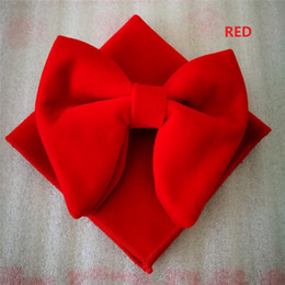 Wholesale wholesale mens cufflinks - Fashion Watermelon Velvet Bowties with Matching hankie Mens Unique Tuxedo Velvet Bowtie Bow Tie Hankie Set Necktie Set