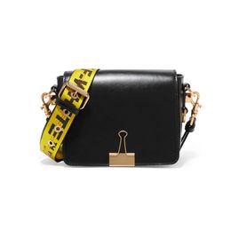 Wholesale Clip Shoulder Bag - 17FW Off-White Black Red Genuine Leather Crossbody Bags Fashion Oblique Stripes Handbag Clip Shoulder Straps Bag HFBB020