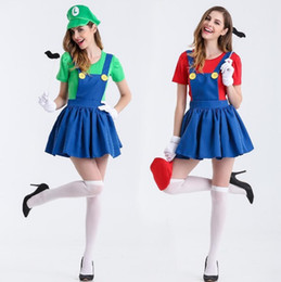 Wholesale Gloves Cartoon - Super Mario Brothers Cosplay Costumes Mario and Luigi Skirt+T-shirt+Hat+Beard+Gloves For Girls and Women Cartoon Game Super Mario MD1179