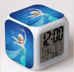 Wholesale American Digital Alarm - Home decoration Frozen Night Glowing Clock frozen princess desk table clocks LED lmuinova Digital Alarm Clock Anna and Elsa Digital clocks