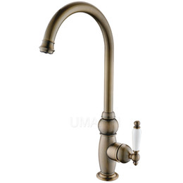 Wholesale antique mixers - Wholesale Retail Bathroom Basin Faucets Antique Brass Brushed Bronze Single Handle Deck Mounted Hot Cold Mixer Toilet Sink Taps ABMPL027