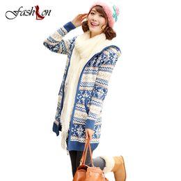 Wholesale Thick Winter Women Korean Coat - Wholesale-Women Thick Warm Christmas Sweater Mid-long Cardigans Autumn Winter Korean Hooded Collar Sweater Coat Cashmere Female Cardigan