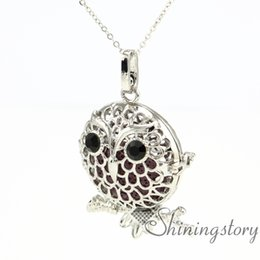 Wholesale Lockets Round White Gold - round night owl pendants diffuser necklace diffuser locket wholesale make your own oil diffuser perfume jewelry wholesale metal volcanic st