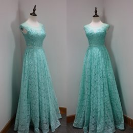 Wholesale Aqua Blue Top - Turquoise Aqua Blue Custom Made Prom Dresses A Line Illusion Jewel Neck Sleeveless Sexy Top Crystals Lace Evening Party Gowns