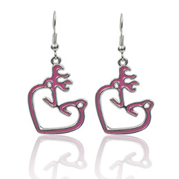 Wholesale doe animal - New Arrival Fashion Buck and Doe Heart Earrings Pink Personality Hunters Kissing Ear Jewelry for Women Wholesale