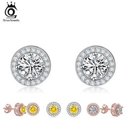 Wholesale Ct Heart - ORSA JEWELS Silver Earring Stud with 0.75 ct Hearts and Arrows Cut Cubic Zirconia Platinum Plated Fashion Earring Jewelry OE104