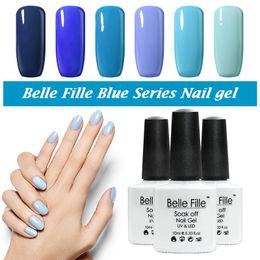 Wholesale Wholesale Nail Led Lights - Wholesale-Belle Fille UV Gel Nail Polish Blue series Nail Polish Gel LED Light UV Manicure for Gel Nail Bluesky Color Fingernail Polish