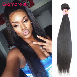 Wholesale Indian Hair For Extensions - Glamorous Human Hair Weave Brazilian Malaysian Indian Peruvian Virgin Hair Bundles 1 Piece 100g pcs Straight Hair Extensions for black women
