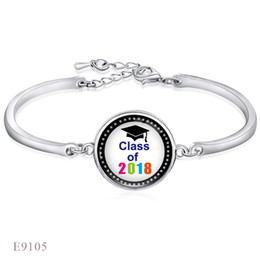 Wholesale Dome Jewelry - (10 Pieces Lot)Fashion Adjustable Class Of 2018 Glass Dome Cabochon Charm Silver Friendship Bangles Bracelet For Women Men Jewelry