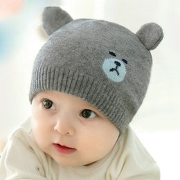 Wholesale Pink Bear Hats - Korea Winter Baby bear Knitted Hat Infant cartoon Caps toddler Outdoor warmth hats baby girls boys beanie cute baby bear ear beanies