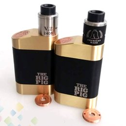 Wholesale Vaporizer The Rig Pig Kit come with The Rig Pig Box Mod and ROUGHNECK RDA fit Battery Brass Body DHL Free