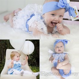 Wholesale Cute Girls Diapers - 2017 0-2Y Baby Lace Romper Baby girl kids toddler Summer Rompers Diaper Covers Jumpsuits Lace Ruffle Cute Bodysuits Pink Gray Blue KBR03
