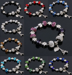 Wholesale Crystal Bead Colors - 9 Colors Fashion Murano Glass&Crystal European Charm Beads Fits Charm bracelets Pandora Style Bracelet High quality jewelry