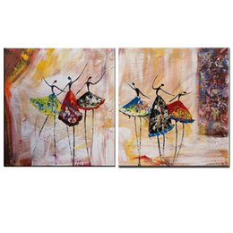 Wholesale Artist Picture - Abstract People Oil Paintings Dancing Girl Canvas Art Handpainted Nice Women Oil Painting Artist Acrylic Painting