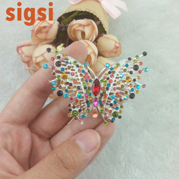 Wholesale Bling Jewellry - 2017 jewelry wholesale 60mm bling colourful butterfly brooch insert animal pin, crystal jewellry safety broach for woman