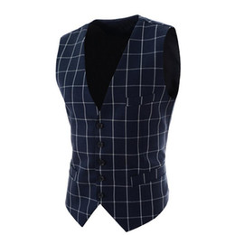 Wholesale Stylish Spring Mens Jackets - Wholesale- Mens Plaid Suit Vest Stylish Waistcoats For Men Sleeveless Jackets Spring Autumn Vintage Slim Fit Single Breasted Casual Vest