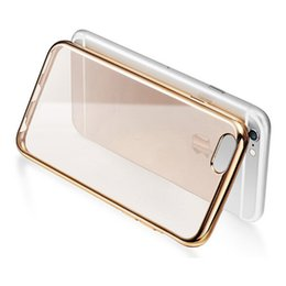 Wholesale Pink Clear Rubber Phone Case - Soft Gel TPU Case Rubber Electroplating Clear Crystal Transparent Mobile Phone Case for iphone 7   7 plus