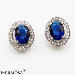 Wholesale Oval White Sapphire - Beautiful Sparkle Sterling Silver Bling Jewelry Sapphire Amethyst Garnet White Topaz Women Stud Earrings Oval Prom Gifts