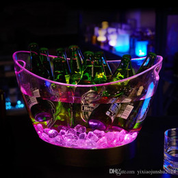 Wholesale Luminous Ice Bucket - NEW bar ktv hotel restaurant rechargeable huge luminous 4L LED ICE Bucket champagne beer ice bucket with cheapest price