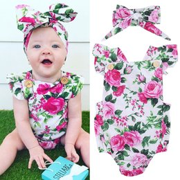 Wholesale Cotton Onesies - Flower Romper + Headband Set Pink Chinese Peony Floral Sunsuit Cotton Fashion Summer Onesies 2017 Kid Clothing 0-24M Over $200 Free DHL