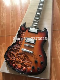 """Wholesale Piano Strings - New skull """"chiller"""". G electric guitar, piano paint sun color, NC guitar, real photo display, wholesale and retail"""