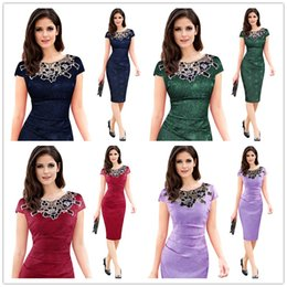 Wholesale Elegant Dress Lace Pencil - Vfemage Womens embroidery Elegant Vintage Dobby fabric Hollow out embroidered Ruched Pencil Bodycon Evening Party Dress Round neck lace