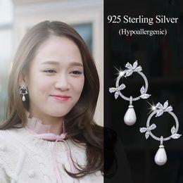 Wholesale 925 swarovski - Fashion Wedding Earrings Bridal Jewelry Rhinestone And Swarovski Pearl 925 Sterling Silver Round Bridal Chandelier Earrings
