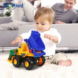 Wholesale Cars Cartoon For Kids - NUKied Engineering Construction Vehicles Forklift Sand Truck Model Baby Color Cartoon Car Kids Birthday Gifts Toys For Children