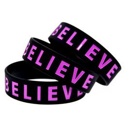 bracciali bieber Sconti Commercio all'ingrosso 50PCS / Lot Justin Bieber Believe Wristband in silicone da 3/4 di pollice Ampio bracciale per gli appassionati di musica