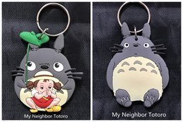 Wholesale Toys For Two Women - Anime Cartoon My Neighbor Totoro Color Figures Pendants rubber two-side Keychain Key Ring Toy for kids gift