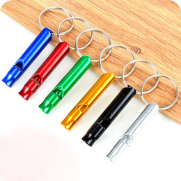 Wholesale Survival Keyring - 10 PCS Lot Mini Aluminum Alloy Whistle Keyring Keychain For Outdoor Emergency Survival Safety Sport Camping Hunting Random Color
