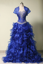 Wholesale Backless Lacy Dresses - Amazing Stunning Appliques Lacy Draping Lace up Strapless Ball Gown Backless Crepes Floor-length Quinceanera Dresses with Jacket 2016
