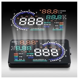 2020 a8 hud A8 5.5 pollici Auto HUD Head Up Display Sistema di sicurezza montato sul veicolo Interfaccia OBD2 Plug / Play KM / h Avviso di velocità MPH a8 hud economici