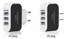 Wholesale Led Android Charger - 3-Port USB Wall Charger 5V 3.1A LED Adapter EU US Plug For iPhone 7 6 5 4 Samsung Blackberry Sony Android Phone