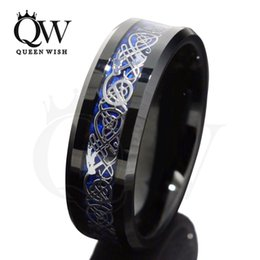 Wholesale Gold Dragon Ring Jewelry - Fashion Jewelry Rings 8mm Black Tungsten Carbide Ring Silvering Celtic Dragon Blue Carbon Fibre Wedding Band Mens Fashion Jewelry Size 6-13
