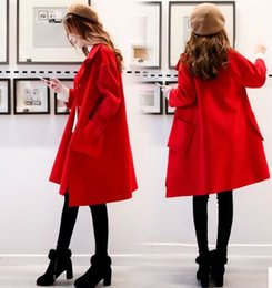 Wholesale Long Spring Trench Coats Women - New Arrival Hot Sale Fashion Noble Female High Quality Morality Show Spring Thickness Cocoon Type Loose Woolen Trench Coat
