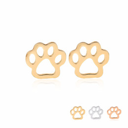 Wholesale Bear Grils - Hot Selling New Cute Hollow Bear Paw Print Earring Silver Gold Rose Gold Color Copper Material For Kids Grils Summer Fashion Jewelry EFE066