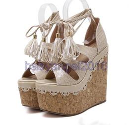 Wholesale Super High Heel 16cm - Size 34 to 40 Lena ViVi beige lace up cross strap platform wedge heel sandals super high 16cm pink black 2017