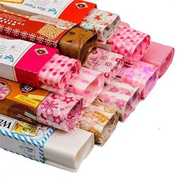 Wholesale Paper Coating - 100 Sheets Lot Flower Love Letter Christmas Wax Paper Food Wrapping Paper Greaseproof Baking Oil Soap Packaging Paper 21.8x25cm
