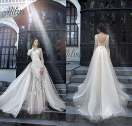 Wholesale Wedding Dresses Detachable Skirts - 2017 Gorgeous Milva Bridal Wedding Dresses Illusion Long Sleeves Low Back Lace Mermaid Wedding Dress with Detachable Skirt