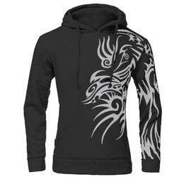 Wholesale Tattoo Dragon New - Wholesale-NEW Mens Fashion Hooded Tattoo Dragon Printed Pullover Sweatshirts Fleece Casual Coat