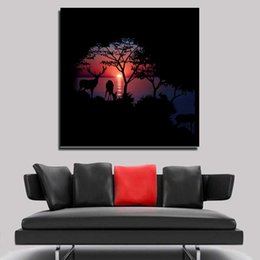 Wholesale Sun Painting Modern Art - Modern wall art creative Westward declines the sun painted Fashion landscape ink painting living room office decorations Art
